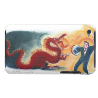 Man Fighting Dragon Barely There iPod Cover