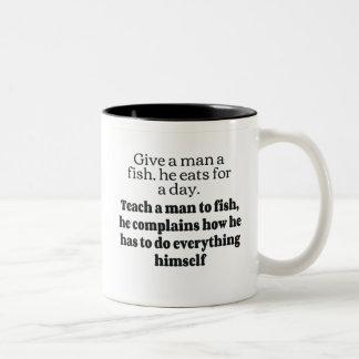 Man fish complains bf coffee mug
