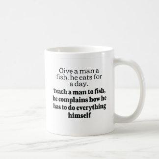 Man fish complains bf coffee mugs
