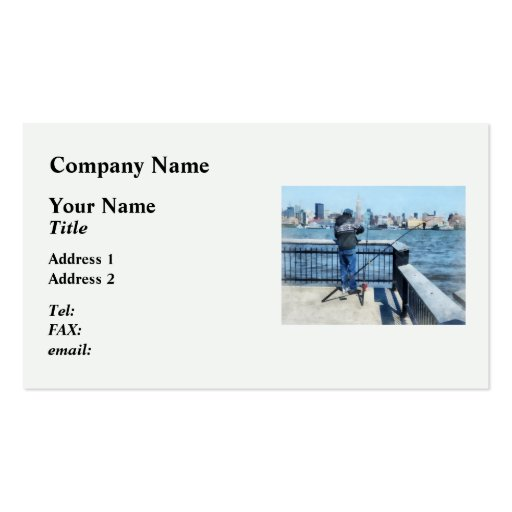 Man Fishing Off Hoboken Pier Double-Sided Standard Business Cards (Pack Of 100)