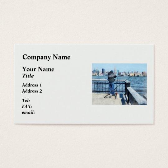 Man Fishing Off Hoboken Pier Business Card