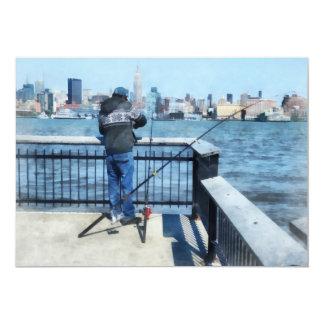 Man Fishing Off Hoboken Pier Card