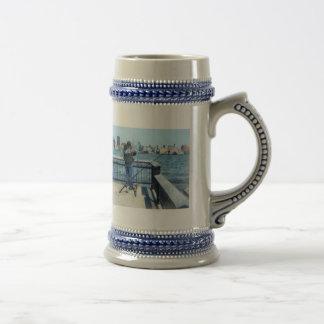 Man Fishing Off Hoboken Pier Coffee Mugs