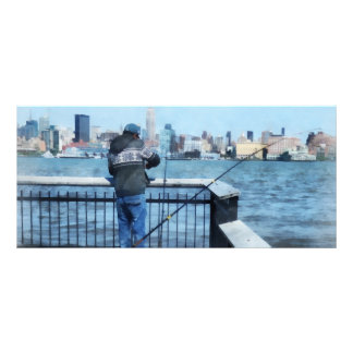 Man Fishing Off Hoboken Pier Rack Card