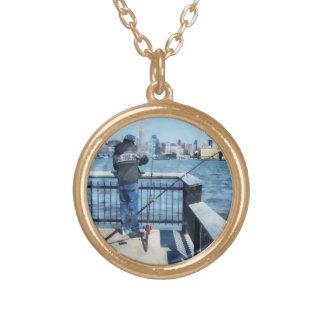 Man Fishing Off Hoboken Pier Round Pendant Necklace