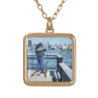 Man Fishing Off Hoboken Pier Square Pendant Necklace
