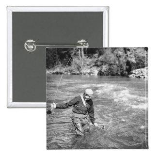 Man Fishing Pinback Button
