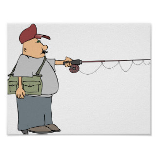 Man Fishing Poster