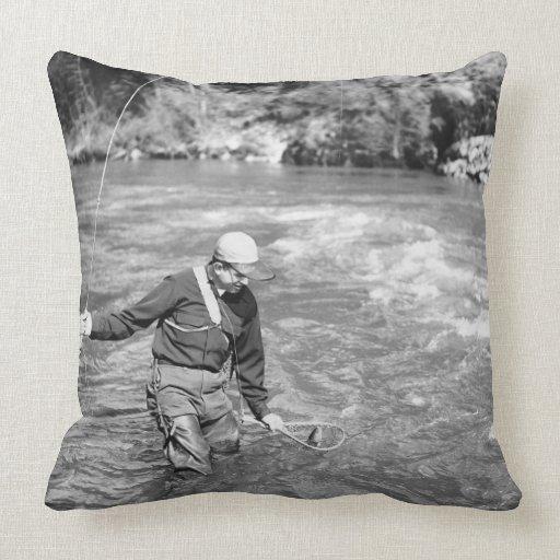 Man Fishing Throw Pillow