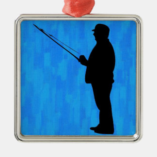 Man fishing with abstract blue background square metal christmas ornament
