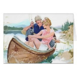 Man fishing with his girlfriend greeting card