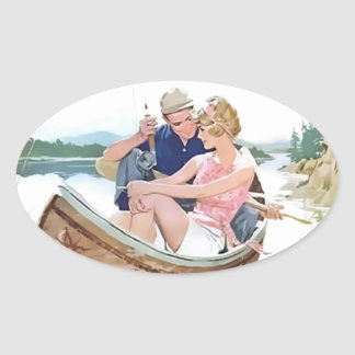 Man fishing with his girlfriend oval sticker