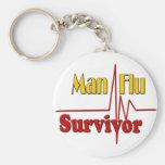 Man Flu Survivor Theme Basic Round Button Keychain