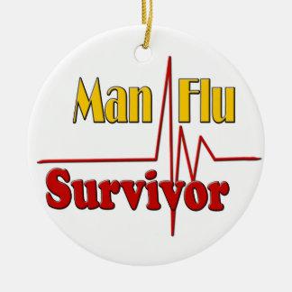 Man Flu Survivor Theme Double-Sided Ceramic Round Christmas Ornament