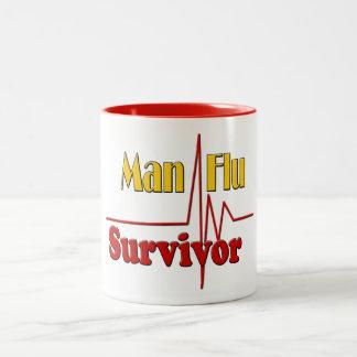 Man Flu Survivor Theme Two-Tone Coffee Mug