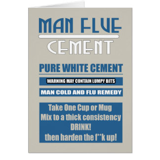 Man Flue - Cold, Get Well Soon In Blue And Cement Greeting Card