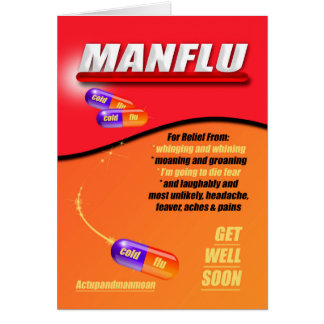 Man Flue - Cold, Get Well Soon In Table Box Colors Greeting Card
