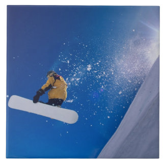 Man flying through the air on a snowboard with ceramic tile