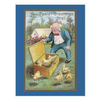 Man Frees Chicks from Wicker Basket Vintage Easter Postcard