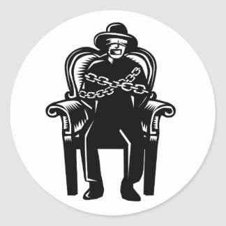 Man Gagged Chained to Grand Arm Chair Woodcut Classic Round Sticker
