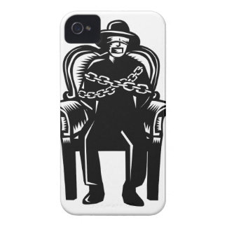 Man Gagged Chained to Grand Arm Chair Woodcut iPhone 4 Case