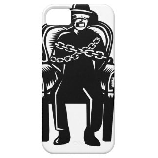 Man Gagged Chained to Grand Arm Chair Woodcut iPhone SE/5/5s Case