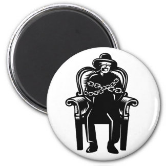 Man Gagged Chained to Grand Arm Chair Woodcut Magnet