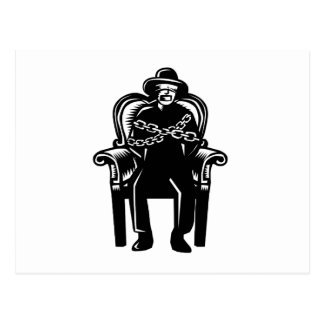 Man Gagged Chained to Grand Arm Chair Woodcut Postcard