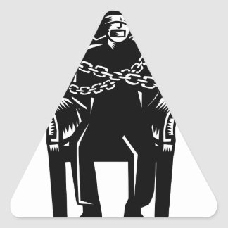 Man Gagged Chained to Grand Arm Chair Woodcut Triangle Sticker