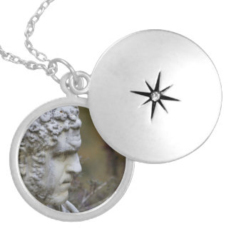 Man Garden Statue Photo Silver Plated Necklace