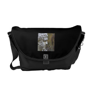 Man Garden Statue Square Photo Messenger Bag