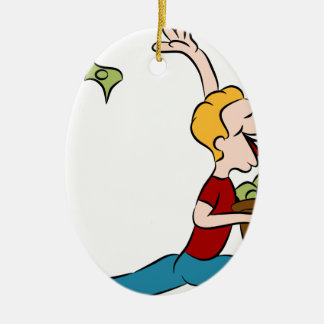 Man Giving Away Money Cartoon Ceramic Ornament
