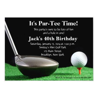 Birthday Party Golf Ball 40th 50th 60th Invitation Zazzle Com