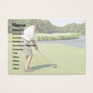 man golfing business card