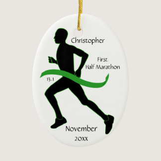 Man Half Marathon Runner Ornament in Lt Green