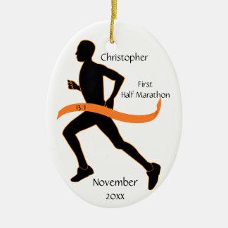 Man Half Marathon Runner Ornament in Orange