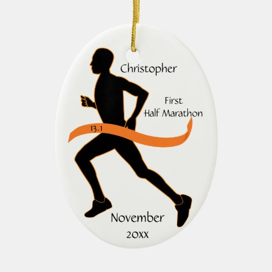 Man Half Marathon Runner Ornament in Orange