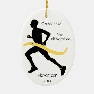 Man Half Marathon Runner Ornament in Yellow
