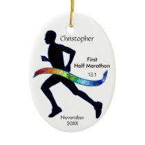Man Half Marathon Runner Puzzle Rainbow Ornament