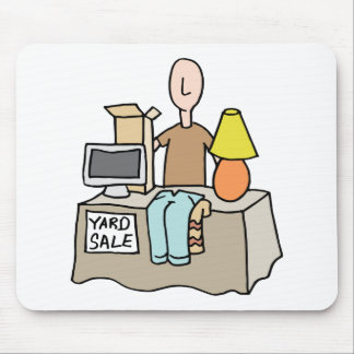 Man having a yard sale mouse pad