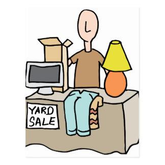 Man having a yard sale postcard