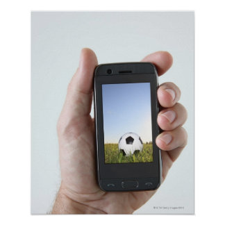 Man holding a mobile phone poster
