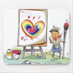 Man holding a paintbrush and standing by an easel mouse pad