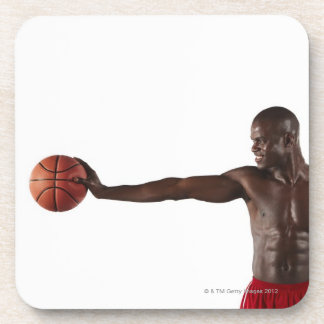 Man holding basketball drink coaster