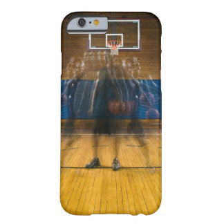 Man holding basketball standing on court, barely there iPhone 6 case