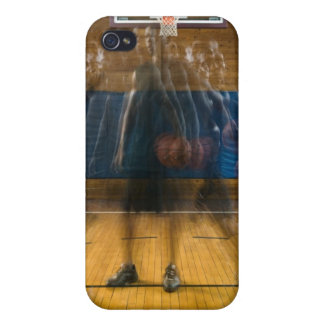 Man holding basketball standing on court, iPhone 4/4S case