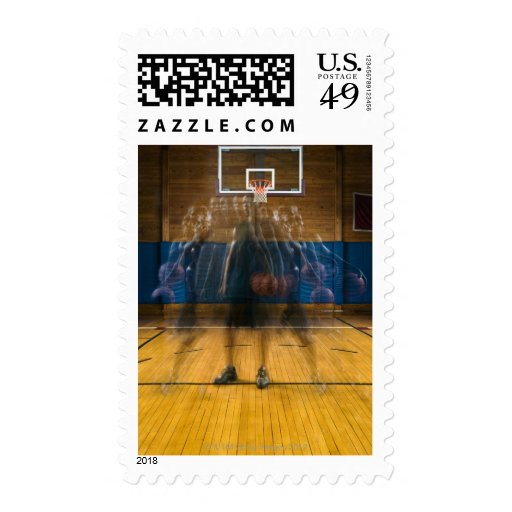 Man holding basketball standing on court, stamp