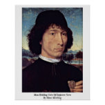 Man Holding Coin Of Emperor Nero By Hans Memling Poster