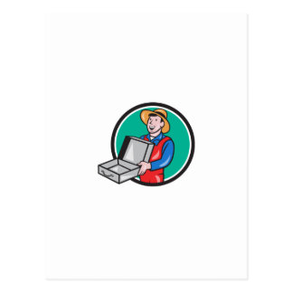 Man Holding Empty Open Suitcase Circle Cartoon Postcard