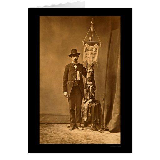Man Holding General Thomas' Unit Battle Flag 1864 Greeting Card